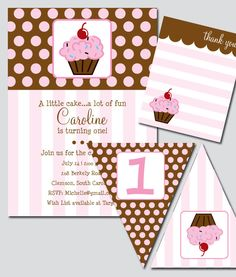 Cupcake Birthday Party Invitation and Decoration by thinkRSVP.