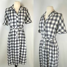 1950s Dark Gray and White Checkered by KrisVintageClothing on Etsy