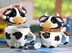 Black & White Cow Ceramic Mugs With Lids & Spoons
