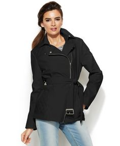 Kenneth Cole Asymmetrical-Zip Belted Jacket