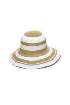 "White/gold packable sun hat. 4.25"" brim. Internal adjustable drawstring.  Kismet Hat by Gottex. Accessories - Hats Minnesota"