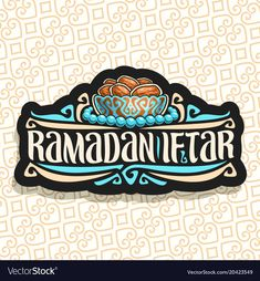 Vector logo for Ramadan Iftar Party, black sign with pile of islamic fasting food - dried dates in old silver bowl and blue prayer beads or muslim rosary, original brush typeface for words iftar party. Download a Free Preview or High Quality Adobe Illustrator Ai, EPS, PDF and High Resolution JPEG versions.