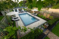 Transformed backyard located on a ravine complete with pool, cabana, lounge, dining room, fully integrated sound system, gardens, formal symmetry Pool Cabana, Dining Room, Lounge, Gardens, Backyard, Formal, Outdoor Decor, Projects, Home Decor