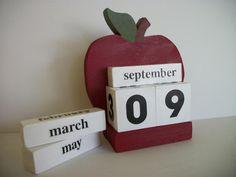 Apple Calendar Perpetual Wood Block Red Apple Decor Teacher Gift via Etsy Wood Pallet Crafts, Wood Block Crafts, Wood Blocks, Apple Calendar, Block Calendar, Teacher Appreciation Gifts, Teacher Gifts, Apple Kitchen Decor, Kitchen Ideas