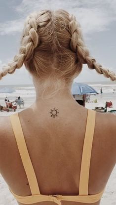 cute tattoo you can display with braids - Tattoos - Mini Tattoos, Little Tattoos, Body Art Tattoos, Tatoos, Piercings, Piercing Tattoo, Smal Tattoo, Tiny Sun Tattoo, Small Sun Tattoos