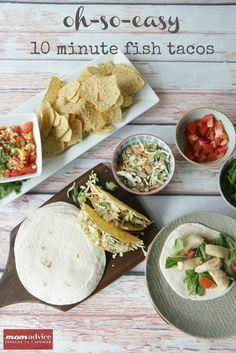 10 Minute Fish Taco Recipe from MomAdvice.com.