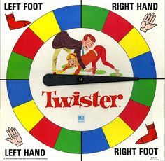 "Twister (a game of physical skill): Twister was submitted for patent by in 1966, and became a success when Eva Gabor played it with Johnny Carson on television's Tonight Show on May 3, 1966. However, in its success, Twister was also controversial. The company that produced the game, Milton Bradley, was accused by its competitors of selling ""sex in a box"". That accusation was probably because Twister was the first popular American game to use human bodies as playing pieces."