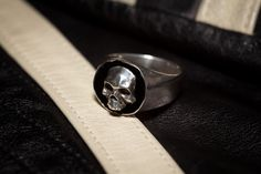 Heavy Sterling Human Skull Signet Ring  by HappyTurtleDesigns, $90.00