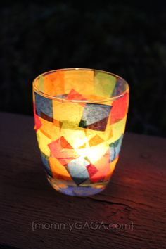 DIY stained glass using tissue paper + add child safe LED candles: http://www.flashingblinkylights.com/flickeringledcandles-c-114_335.html