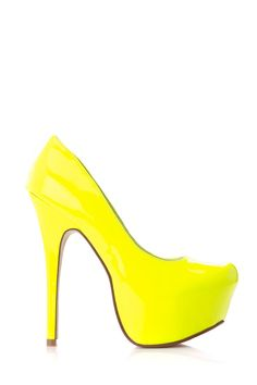 """NEON LOVE Presents """"Patent Platform Pumps"""" with patent material, a hidden platform, almond toe cut and cushioned insoles. Perfect for just about any outfit of your choice, either day or night time. Only at www.cicihot.com"""