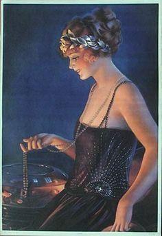 Woman w Laurel Headband, Long Necklace Gene Pressler Art Deco Artists, Art Deco Paintings, Pinup Art, Illustrations, Illustration Art, Fashion Illustration Vintage, Art Deco Posters, Bd Comics, Vintage Art