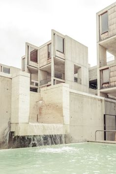 Louis Kahn (b.1901-d.1974) | Salk Institute (1959–1965) | La Jolla, California, USA | Photo: Rasmus Hjortshøj | The original campus design was composed of three main clusters: meeting and conference areas, living quarters, and laboratories. Only the laboratory cluster, consisting of two parallel blocks enclosing a water garden, was built. The two laboratory blocks frame a long view of the Pacific Ocean, accentuated by a thin linear fountain that seems to reach for the horizon.