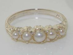 Stunning 14K White Gold Genuine Pearl Vintage by GemsofLondon