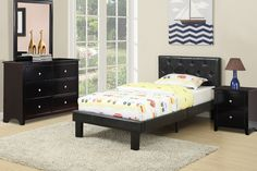 Twin BedF9415T $95 Descriptions :Material : Solid Pine,Popler Wood,Plywood.Faux LeatherProduct Dimensions:Twin Bed : HB 36