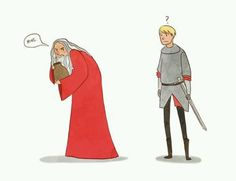 "{""I take it you didn't come all this way just to smash my favorite pot!""} old!Merlin was one of the best things in this show"