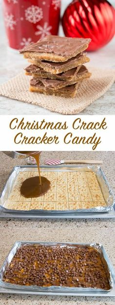 Gummi Worms - - Market Pantry™ Christmas Crack (aka saltine cracker toffee) - Candy - Ideas of Candy - Just 4 ingredients to make this popular and highly addictive Christmas candy. Köstliche Desserts, Holiday Desserts, Holiday Recipes, Delicious Desserts, Dessert Recipes, Yummy Food, Dinner Recipes, Christmas Sweets Recipes, Healthy Food