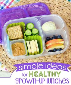 30 Healthy and Diet Friendly Lunch Ideas for Grown-Ups need to buy the small containers, and love the cupcake papers idea for separation!