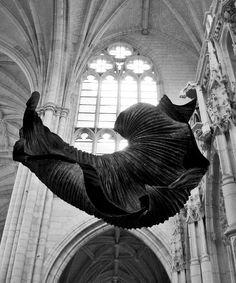 Paper Sculpture, by Peter Gentenaar, floats inside a church