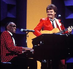 Ray Charles and Ricky Skaggs at 18th Annual Country Music Awards, held at the Grand Ole Opry House in Nashville (aired Oct. 8, 1984).