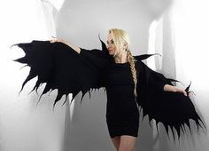 Felted Scarf Wings Scarf Gothic Surreal Gothic BLACK by filcant
