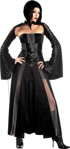 Our Baroness Von Bloodshed Vampire Costume features a black strapless dress with a patent leather corset style bodice. Vampire Costume also includes a black shrug with lace-up sleeves. Gothic Halloween Costumes, Adult Costumes, Costumes For Women, Halloween Ideas, Women Halloween, Costumes 2015, Halloween Vampire, Halloween 2014, Halloween Stuff