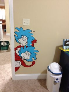 This is a Hand Painted Wallpaper (all murals are painted by me) wall paper décor stick-up sticker application art decal on Non-Toxic paint-able pre-pasted vinyl slightly textured wallpaper painted with Non-Toxic acrylic paints. Great for Dr Seuss theme baby nursery art decor. I sell them on ebay, etsy & flickr. I have been painting/selling for ten years, most of the hand painted murals you see thru google where painted by me Roxanne. Dr Seuss room Art Sticker Decal Painted Murals Baby Decor