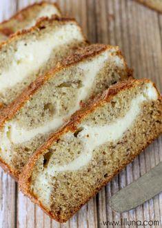 Cream Cheese Filled Banana Bread topped with Cinnamon and Sugar { lilluna.com }