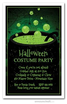 HALLOWEEN PARTY INVITATIONS: A black cauldron bubbles and boils with thick green toxic brew, perfect invites for Halloween party invitations or Halloween birthday invitations  and more. See our entire collection at Announcingit.com