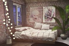 Sims 4 cc's - the best: paintings by smellslikepixeldolls building int Sims 4 Bedroom, Bedroom Sets, Lotes The Sims 4, Sims Cc, Sims 4 Tsr, Los Sims 4 Mods, Sims 4 Beds, Muebles Sims 4 Cc, Sims 4 Mods Clothes