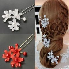 2cb27a92d12d 10pcs Clear Crystal Flower Bridal Hair Pin U Shaped Hair