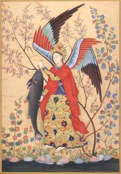 Hossein Naqqash, Archangel Raphael, Mughal, Guimet Museum, Paris) – RHCe Regionaal Historisch Centrum Eindhoven – Join in the world of pin Angel Artwork, Islamic Paintings, Art Asiatique, Iranian Art, Art Japonais, Foto Art, Medieval Art, Religious Art, Ancient Art
