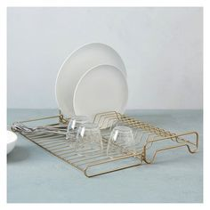 West Elm - Foldable wire dish rack [brass, 2014]