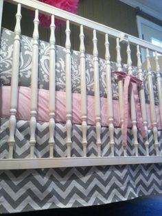 Custom Pink and Gray Crib Bedding by SimplySassynSweet on Etsy,