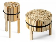 Banded wood side round table and round cocktail table.