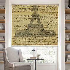 Retro Words Page With Effel Tower Background Roller Shade – AUD $ 55.59