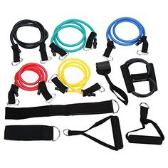 Fitness  Body Building Hot Sale 12Pcs Elastic Fitness Resistance Bands Set Exercise Training Tubes for Yoga Pilates Fitness Equipments *** Details can be found by clicking on the image.