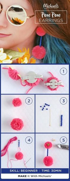 Part trendy. Part glamorous. Part fun. And all YOU! Because the perfect Pom Pom Earrings are the ones you MAKE yourself! Whether you're stylin' for vacay or adding a pop of color to your day-to-day, we'll show you how to complete your look and own the summer. Just follow the how-to on Michaels project page!