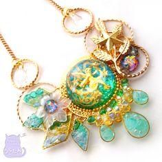 翠の雫煌めく妖精ネックレス