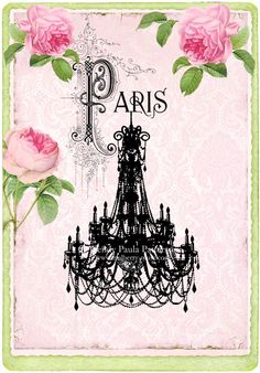 Artículos similares a Chandelier French art print, silhouette with pink roses, romantic Paris vintage home decor, giclee en Etsy