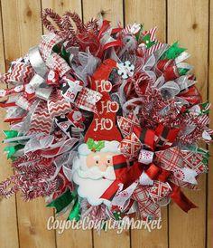 Reserved for Kate-Santa Christmas Mesh Wreath-Christmas Wreath-Holiday Door Wreath-Kris Kringle Wreath-Santa Mesh Wreath-Santa Wreath by CoyoteCountryMarket on Etsy