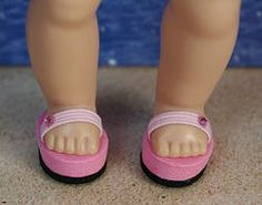 "Pink and Black! ~FLiP-FLoPs~ for Reproduction and Vintage Ginny, Muffie, and Madame Alexander 7.5""-8"" DoLLs Newly created and at my website www.karmelapples.com now in stock. These are not for Modern Ginny 8"" dolls, but I can make flip flops like this for her, but they will have two straps and are designed a little different to fit her foot. Other colors available. Click the pix to take you there."