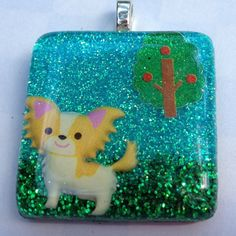 """Papillon Puppy Dog Kawaii Resin Pendant Necklace by KawaiiWhimsy, $12.00  Comes with 24"""" ball chain necklace"""