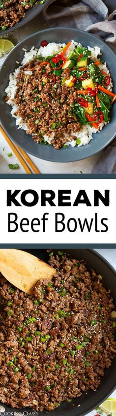 Super fast and seriously delicious cheater Korean Beef Bowls! Perfectly seasoned and ready in 20 minutes. A recipe worthy of your dinner rotation!