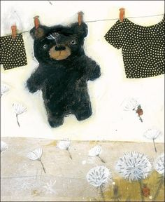 Bear hanging on clothing line illustration by Manon Gauthier Illustration Mignonne, Children's Book Illustration, Illustration Children, Animal Illustrations, What A Nice Day, Art Fantaisiste, Whimsical Art, Graphic, Collage
