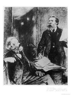 Karl Marx German Political Theorist Working on Das Kapital with Engels Giclee-trykk av Shukow hos AllPosters.no