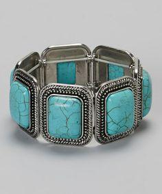 Look at this #zulilyfind! Turquoise Rectangle Stretch Bracelet #zulilyfinds
