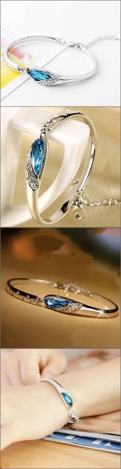 Elegant Silver Plated Crystal Bracelet