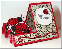 Ladybug Birthday created by Frances Byrne using Ladybug – The Stamps of Life and Sizzix Basic Step-Ups Card: Flip Cards, Fun Fold Cards, Folded Cards, Homemade Greeting Cards, Greeting Cards Handmade, Homemade Cards, Center Step Cards, Side Step Card, Up Book