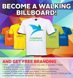 Become a walking Billboard! Promotional t-shirts from Best Branding South Africa Promo Gifts, Free Advice, Heat Press, Corporate Gifts, Golf Shirts, Billboard, Slogan, South Africa, Screen Printing
