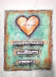 Art Journal Mixed Media - Original Art - Burlap Heart